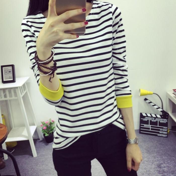 harga Baju atasan wanita import original yellow cuff stripe (l) Tokopedia.com