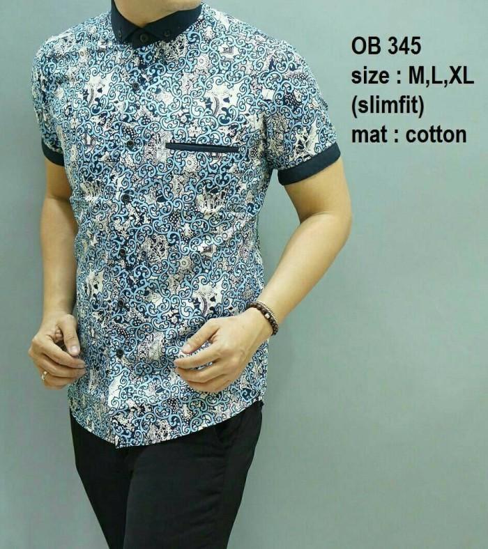Jual Baju Kemeja Pria Batik Modern Slim Fit Lengan Pendek Ob 345 2cc827eef9