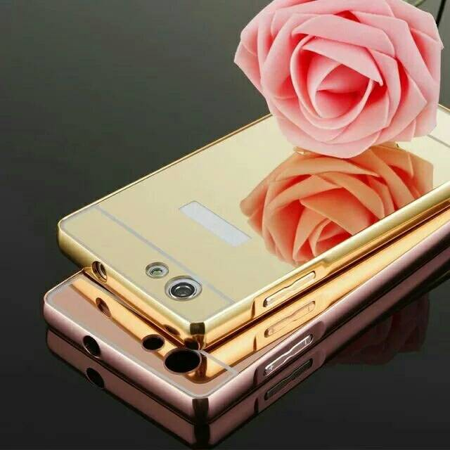 Oppo Neo 7 A33 Bumper Metal Mirror Sliding Backcase Cover Case