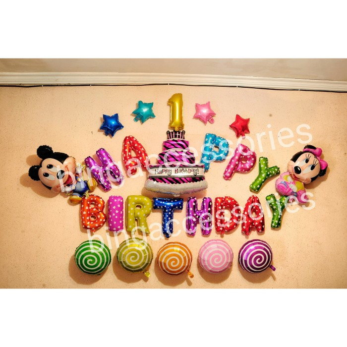 Jual Balon Foil Happy Birthday Anak kado tas souvenir