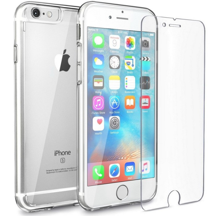 iPhone 6 Tempered Glass Cover Casing Handphone Soft Case Transparan .