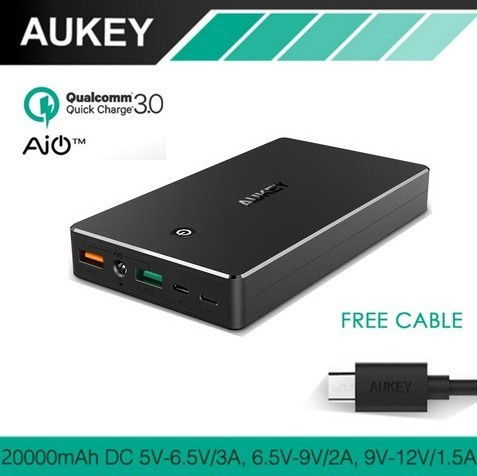 harga Aukey quick charge qualcomm 3.0 powerbank pb-t10 20000mah - black Tokopedia.com