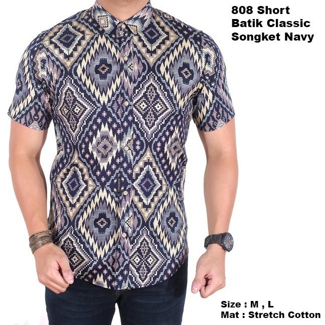 kemeja batik pria lengan pendek songket navy slimfit / baju batik cowo