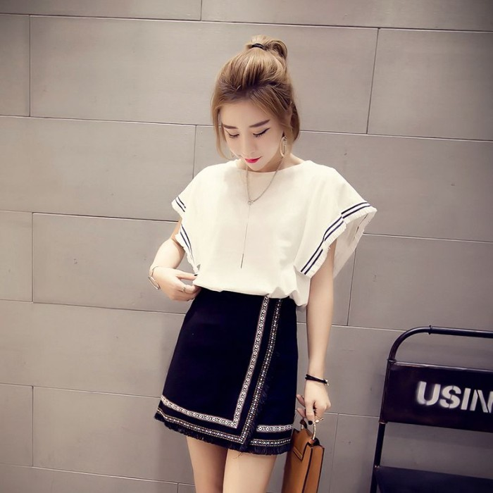 harga Set setelan atasan putih pink + rok mini skirt fringe hitam import Tokopedia.com