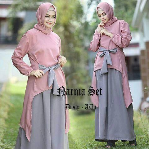 Jual Model Baju Gamis Set Modis Narnia Dusty Abu Kota Bekasi Model Baju Gamis Tokopedia