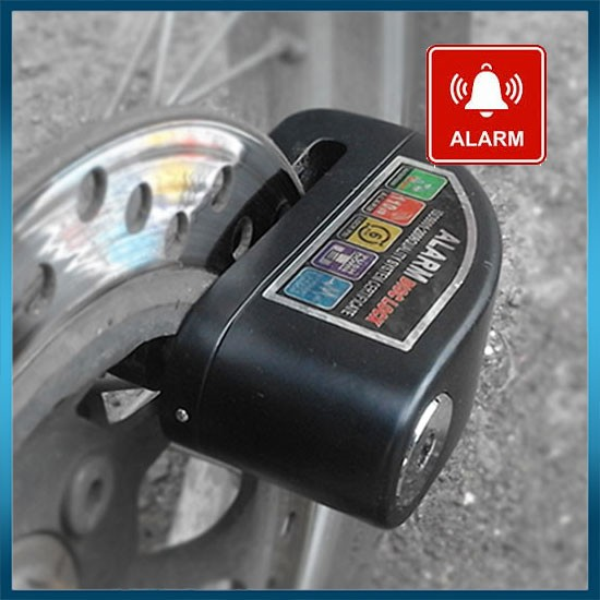 Gembok Cakram Motor Dengan Alarm (Kunci Gembok + Alarm Cakram Motor) - Hitam