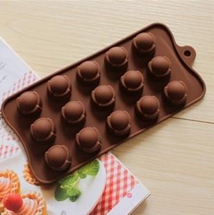Cetakan silikon coklat es puding silicone double dome 15 pcs