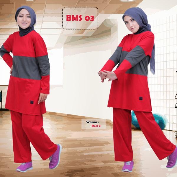 Jual Baju Olahraga Kaos Muslimah Believe BMS 03 Red 2 - musdechijab ... b711455c08