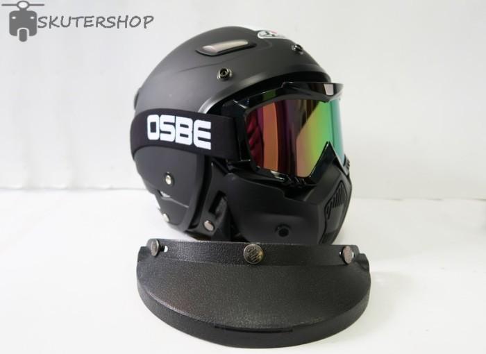 Helm Retro Pilot Klasik Jpn Momo Black Doff + Osbe Goggle Mask + Pet