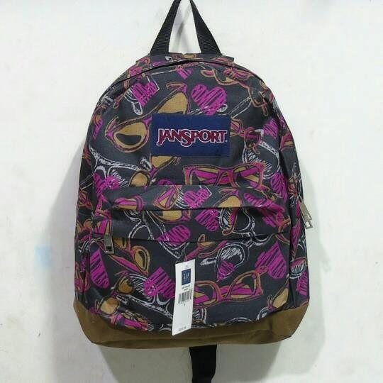 tas ransel jansport mini wanita motif ungu hitam main jalan