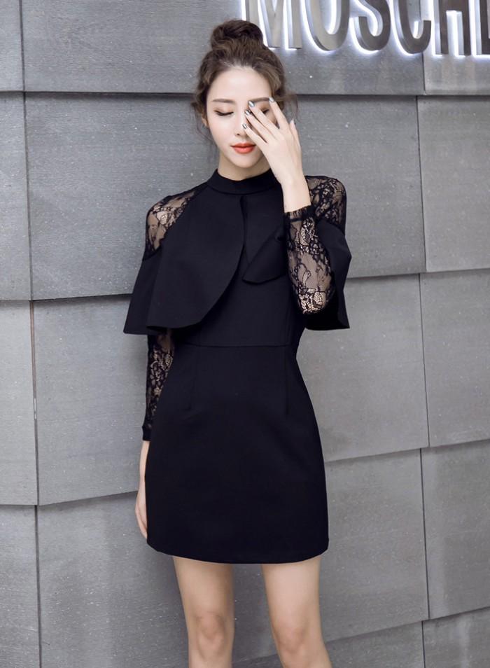 Jual Baju Terusan Midi Dress Hitam Ber Cape Berenda Elegan
