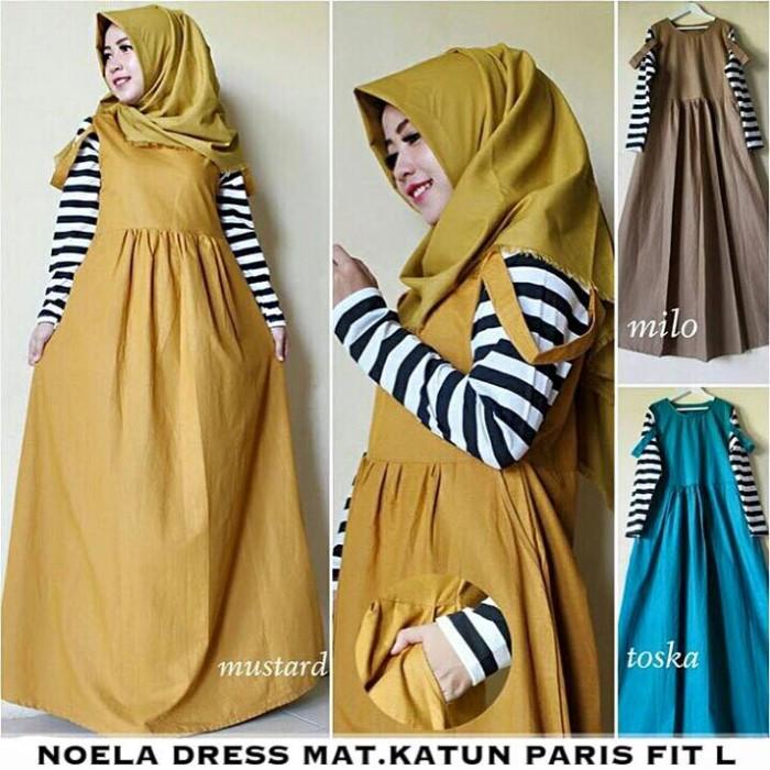 Jual Noela Dres Rok Overall Gamis Baju Ibu Hamil Baju Muslim