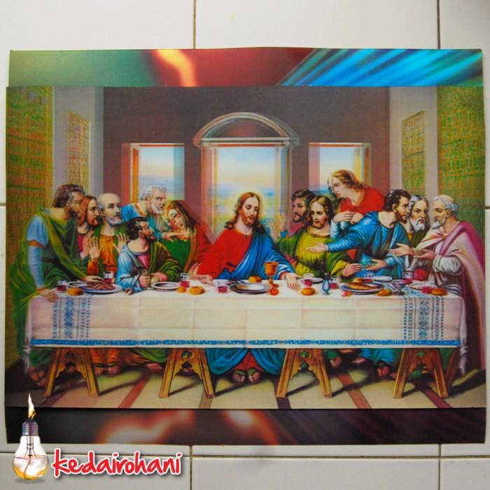 harga Poster lukisan 3 dimensi  perjamuan terakhir / last supper  38x58cm Tokopedia.com