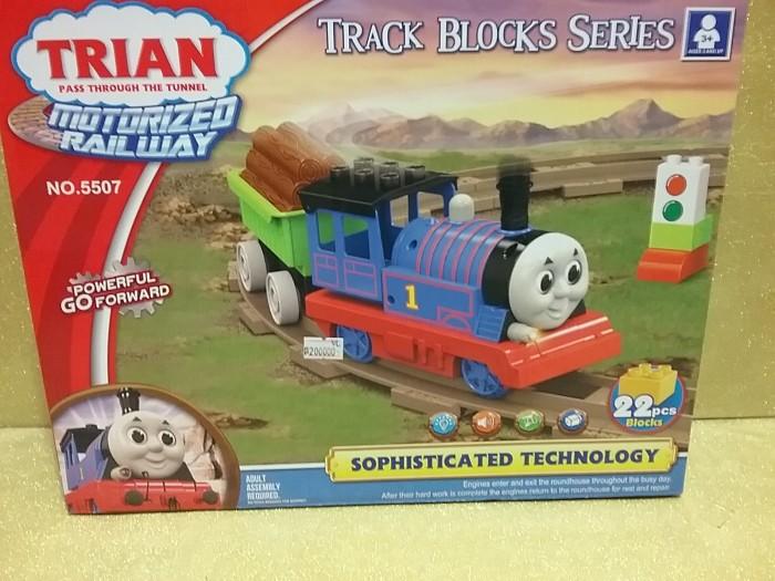 kereta api thomas model blok duplo dengan baterai