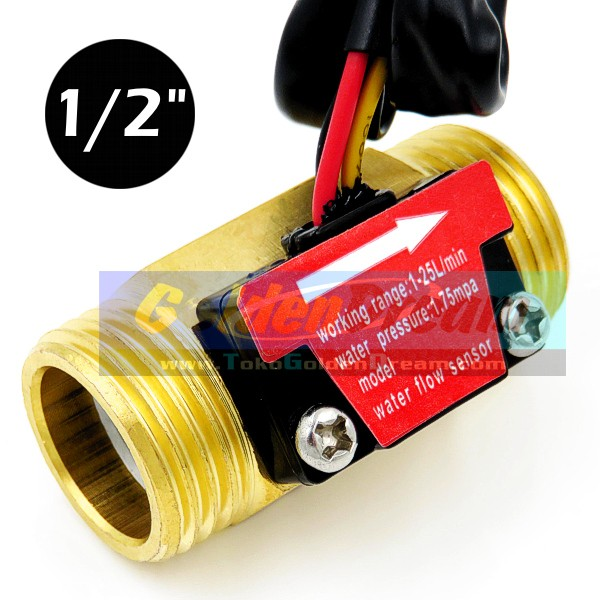 harga New: water flow sensor 1/2  kuningan aliran air cairan liquid 1-30l/mi Tokopedia.com
