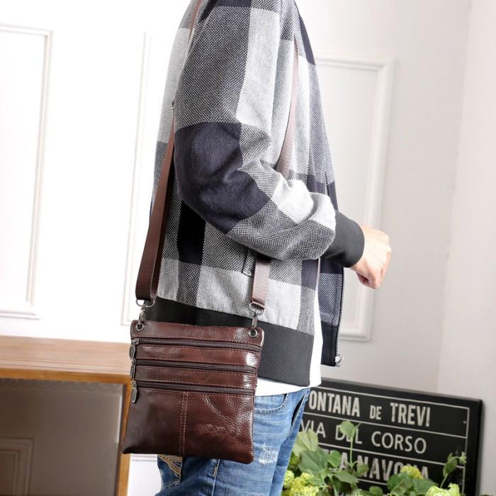 Tas selempang kecil tas pria kulit asli import