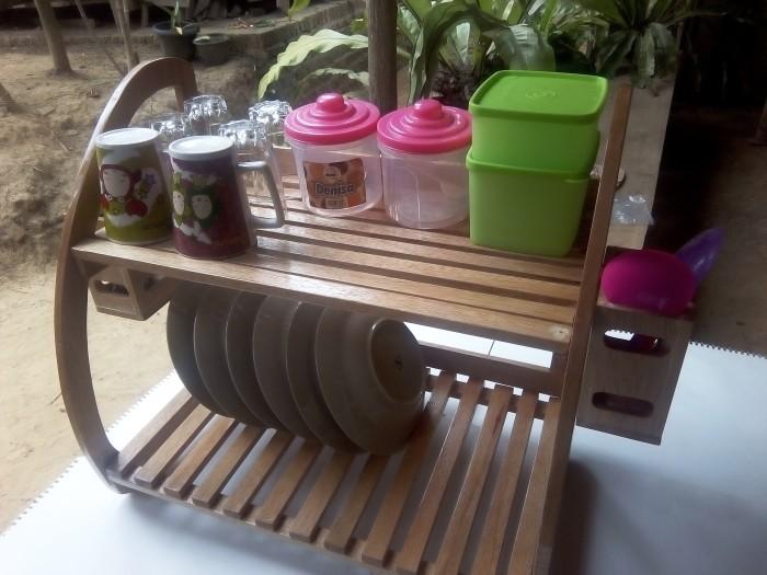 Jual rak  piring  kayu  minimalis arka handmade jambi
