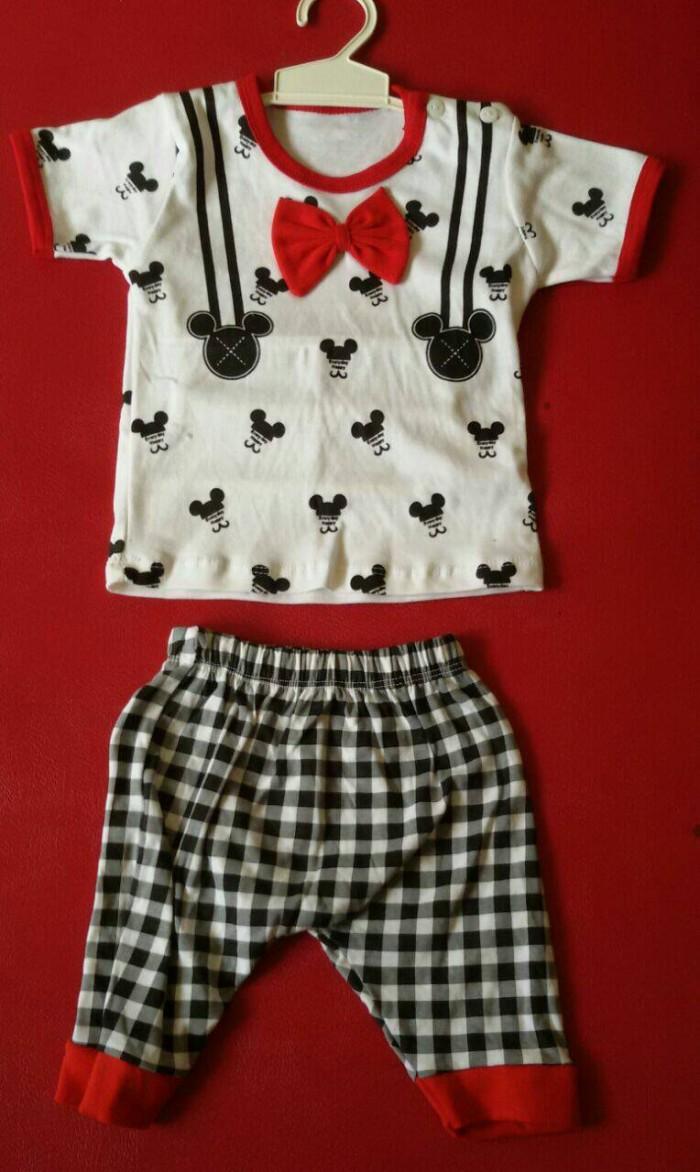 Jual Baju Setelan Bayi Mickey Mouse Dasi Pita Murah Anak Mikimouse