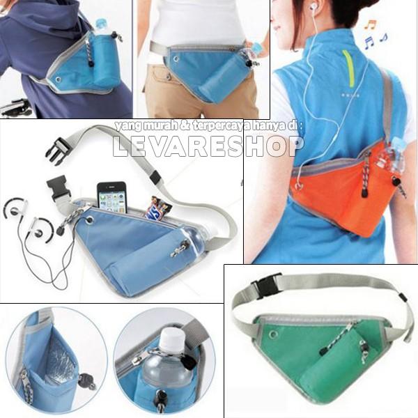 Foto Produk Running Bag / Tas Pinggang Punggung Lari Jogging + Tempat Botol Minum dari Levare Shop