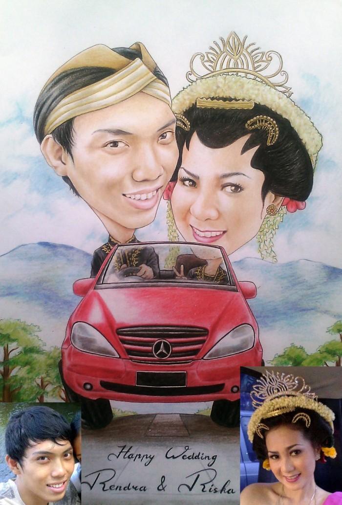 Jual Karikatur Kado Pernikahan Unik Dan Lucu Polaris Art Tokopedia