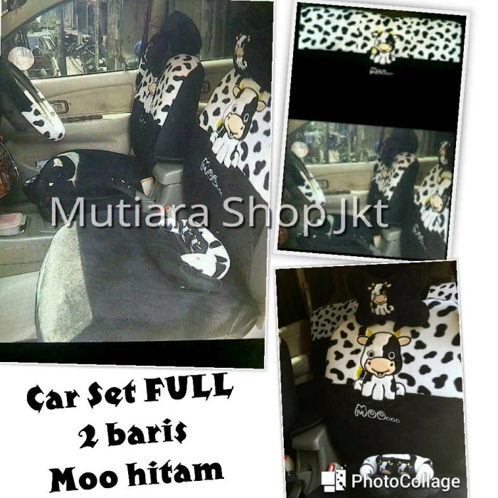Bantal mobil full set 2 baris moo black