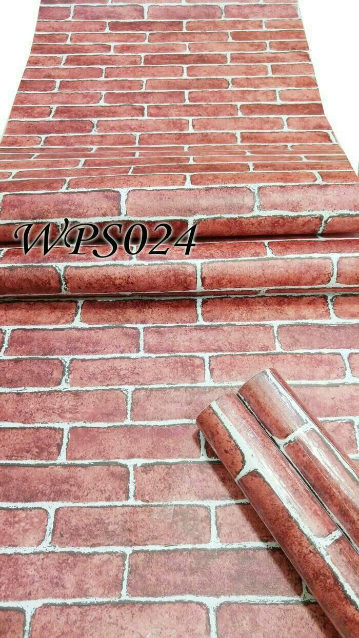 Wallpaper dinding batu bata merah natural. Source · style contrasting color lettered LOOESN short sleeved