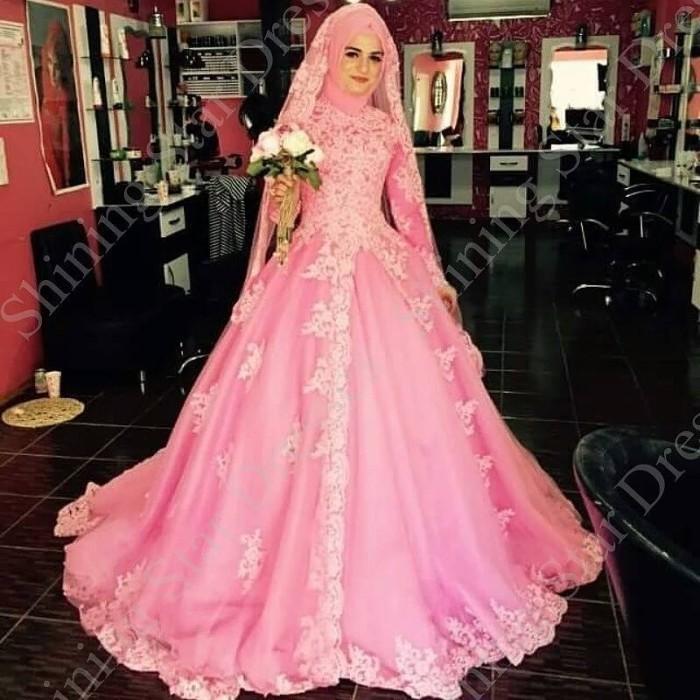 b9ac5fb498 gaun pengantin kembang pink wedding gown berhijab baju pengantin murah