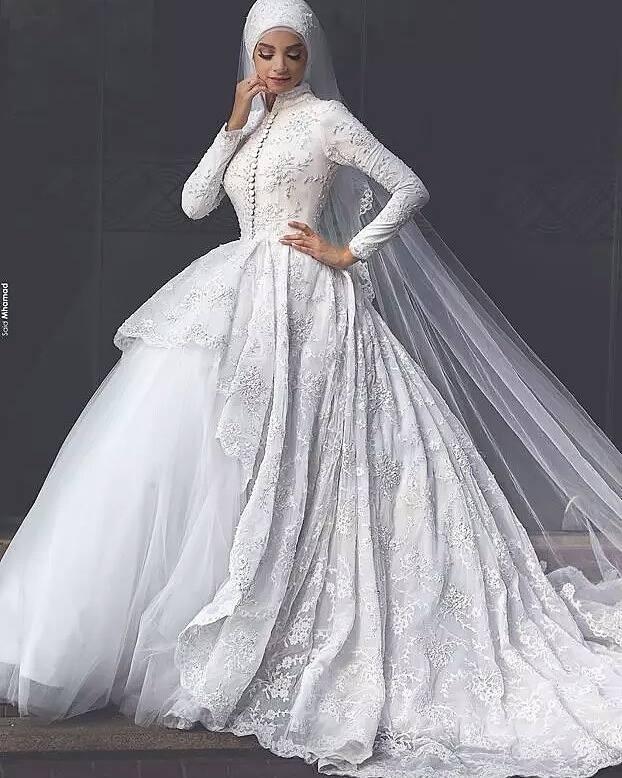 Jual Baju Pengantin Muslim Weddin Gown Kembang Putih Gaun Pengantin