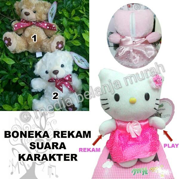 harga Boneka rekam suara unik - hello kitty & bear - kado unik valentine Tokopedia.com