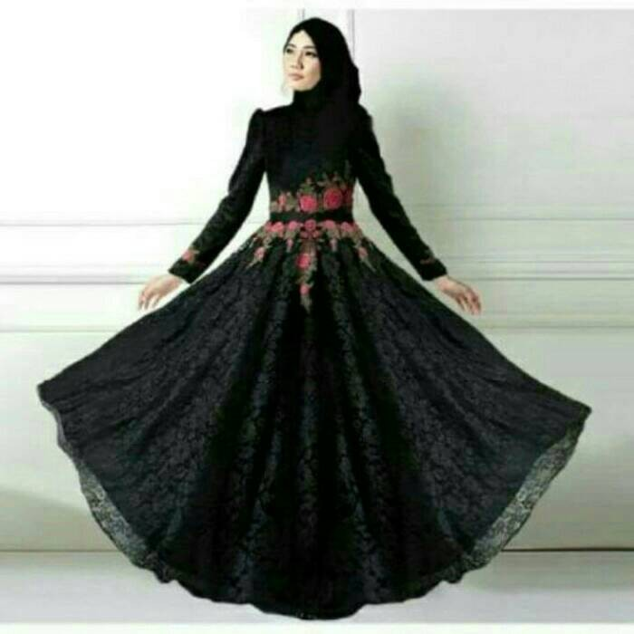Jual Gamis Brukat Black Hitam Gaun Pesta Baju Muslim Dress Pasmina