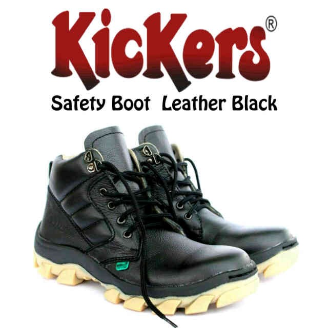SEPATU KEREN, MURAH DAN NYAMAN (KICKERS SAFETY BOOTS BLACK LEATHER)