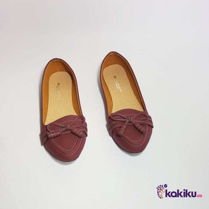 Sepatu Flat Shoes Balet Wanita Gratica AW08 Maroon / Diskon Termurah .