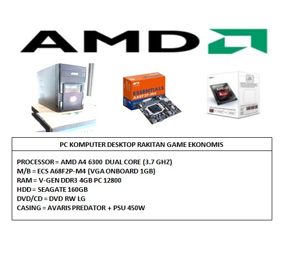 harga Pc komputer amd rakitan game ekonomis [amd a4-6300 3.7ghz/ ddr3 4gb] Tokopedia.com