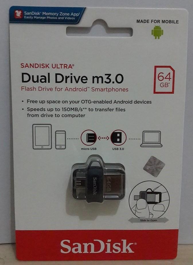 SanDisk Ultra Dual Drive M3.0 64GB USB 3.0 OTG Flash Drive NEW!