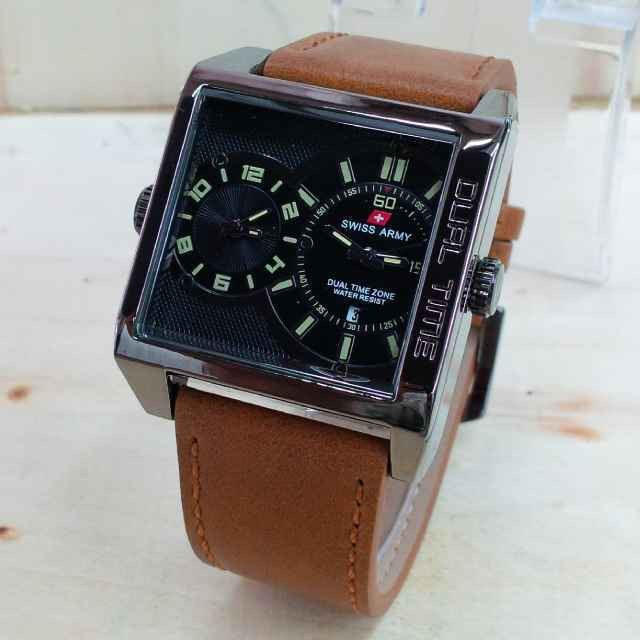 Jam Tangan Swiss Army Dual Time Date Active Leather & Box 2