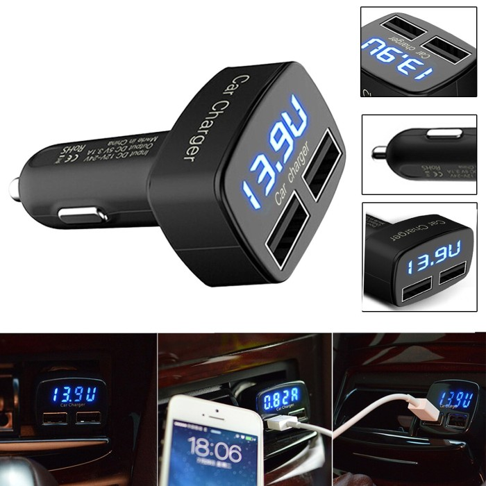 harga 4 in 1 dual usb car charger voltmeter ammeter monitor thermometer Tokopedia.com
