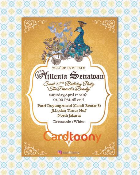 Jual Kartu Undangan Ulang Tahun Peacock Merak Emas Vintage Invitation Card Kota Surabaya Cardtoony Tokopedia