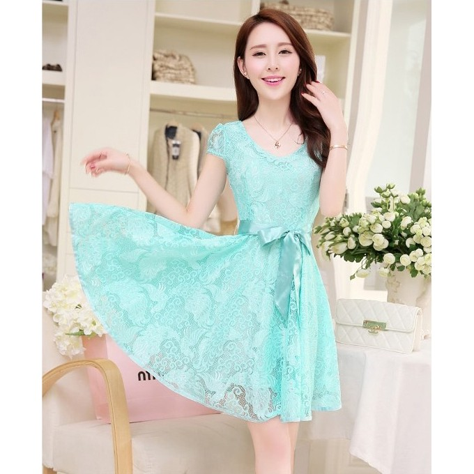 Jual Mini Dress Korean Style Cute Dress Casual Wanita Korea Summer
