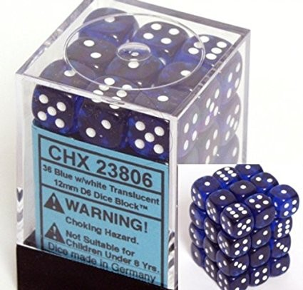 harga Chessex dice d6 sets: blue with white translucent - 12mm six sided die Tokopedia.com