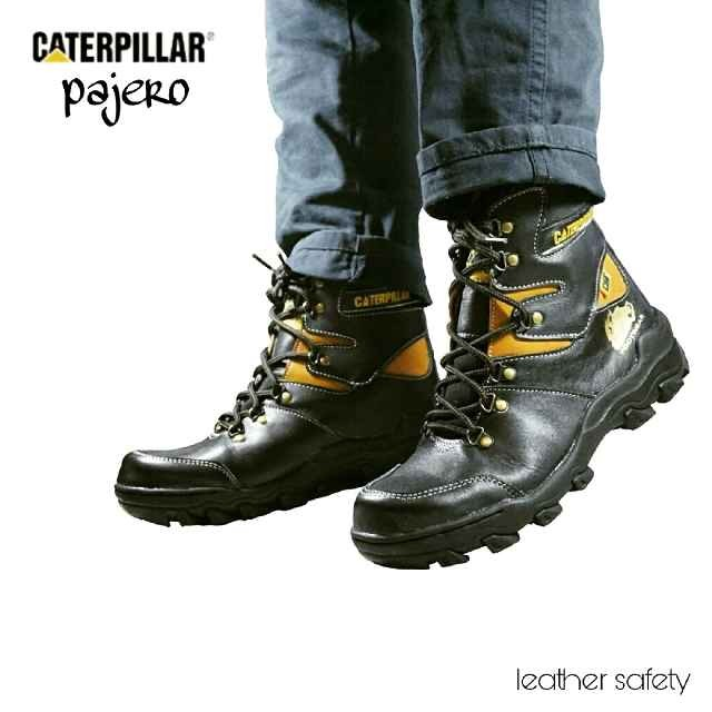 Jual sepatu caterpillar pajero boots safety black kulit asli leather ... 42f0ee93d8
