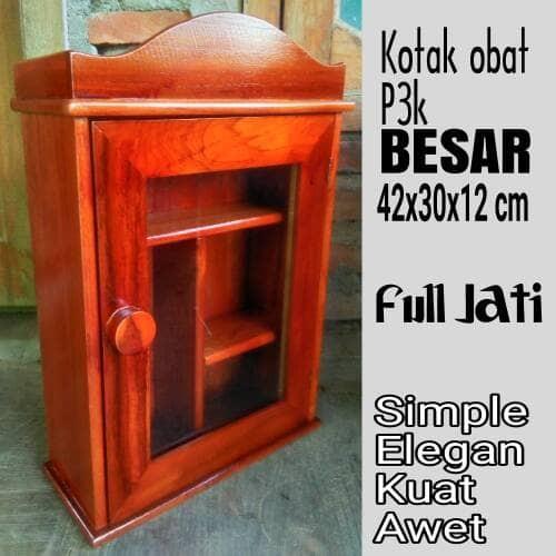 harga Kotak Obat P3k First Aid Box Kayu Jati Model Mahkota Raja Tokopedia.com