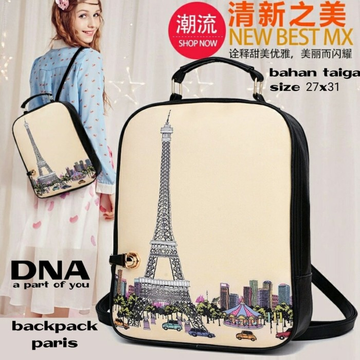 harga Termurah tas ransel wanita / tas sekolah / backpack korea eiffel paris Tokopedia.com