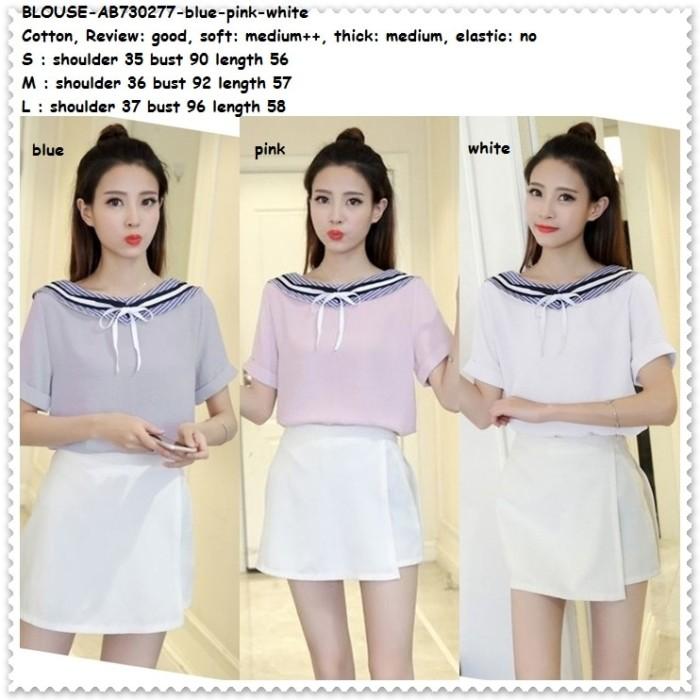 harga Baju Pita Kemeja Sailor Blouse Wanita Korea Import Pink Putih Biru Blanja.com