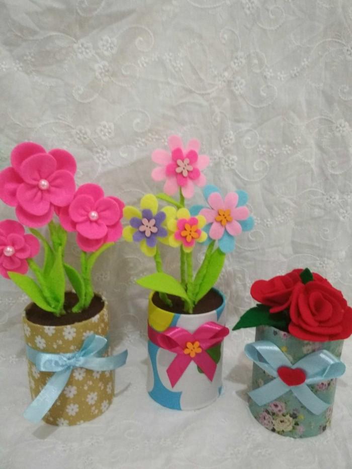 Jual Bunga Pot Bunga Flanel Buket Bunga Pot Kab Tangerang