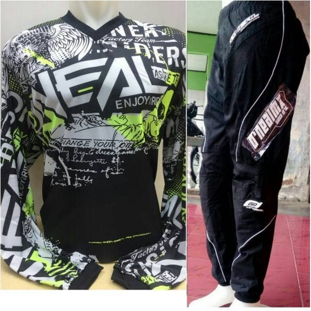harga Grosir murah jersey hijau celana hitam trail cross motocross oneal xl Tokopedia.com