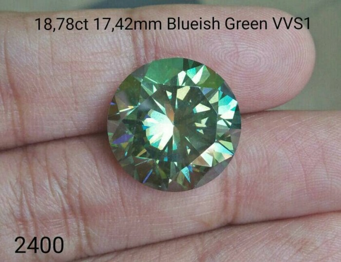 harga Diamond Moissanite 18.78ct 17.41mm Blueish Green Vvs1 Tokopedia.com