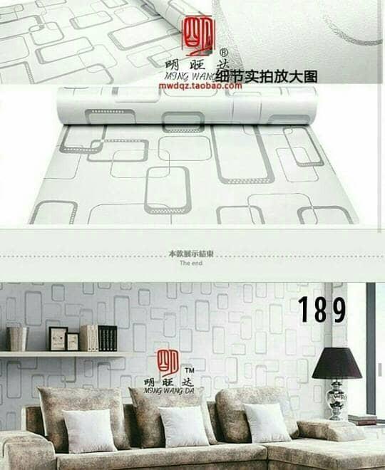 jual wallpaper sticker murah kotak persegi abu10 meter - kota bekasi