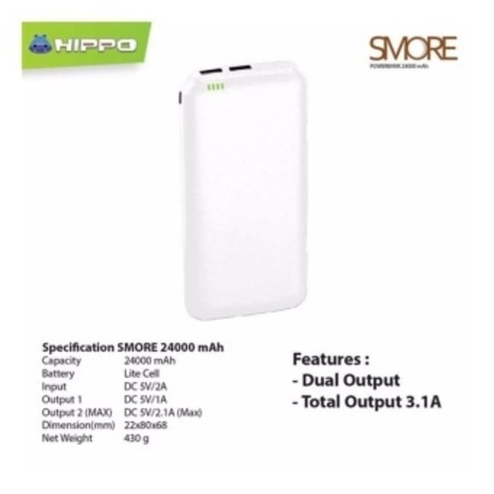 ... harga Hippo power bank smore series 24000mah hitam putih garansi Tokopedia.com