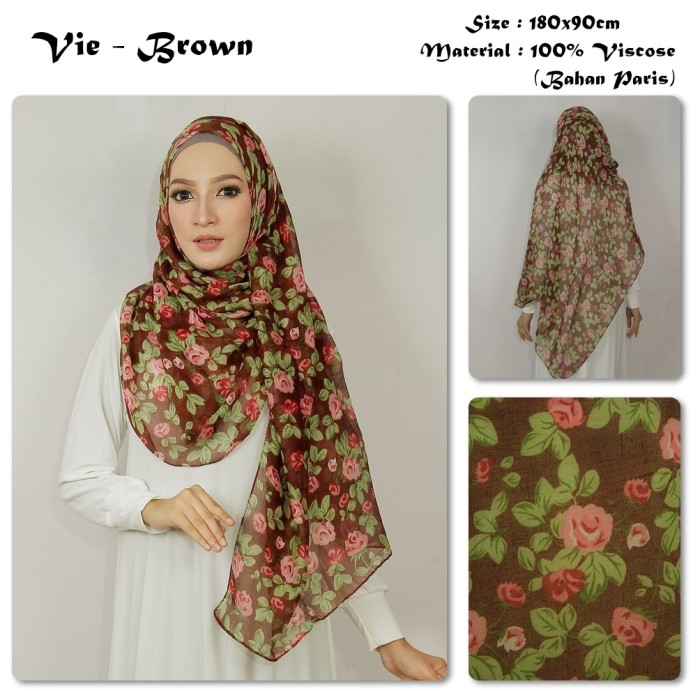 Vie | bunga | bahan paris | pashmina motif / jilbab / kerudung