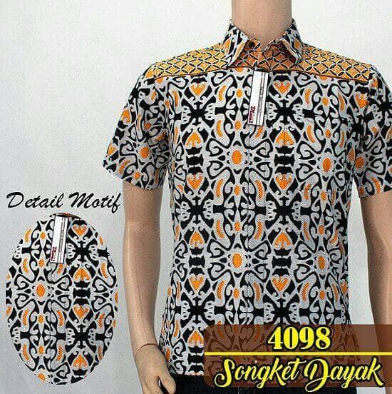 Kemeja batik pria modern.songket dayak kuning ... 23b63e0bf3